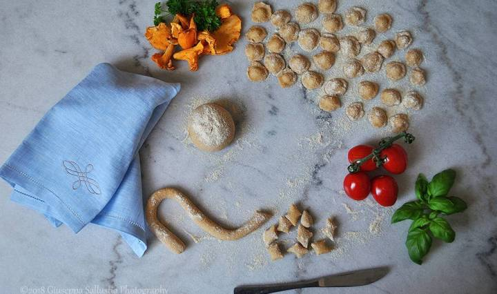 Home-made orecchiette for cooking lesson in Apulia