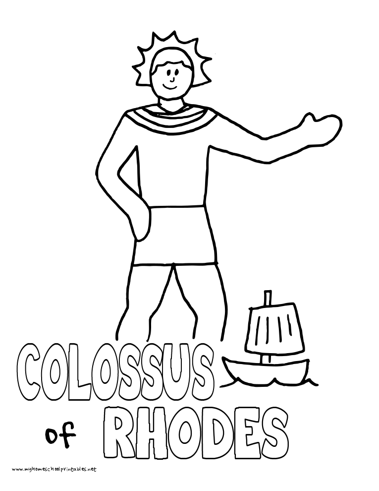 World History Coloring Pages Printables Colossus of Rhodes