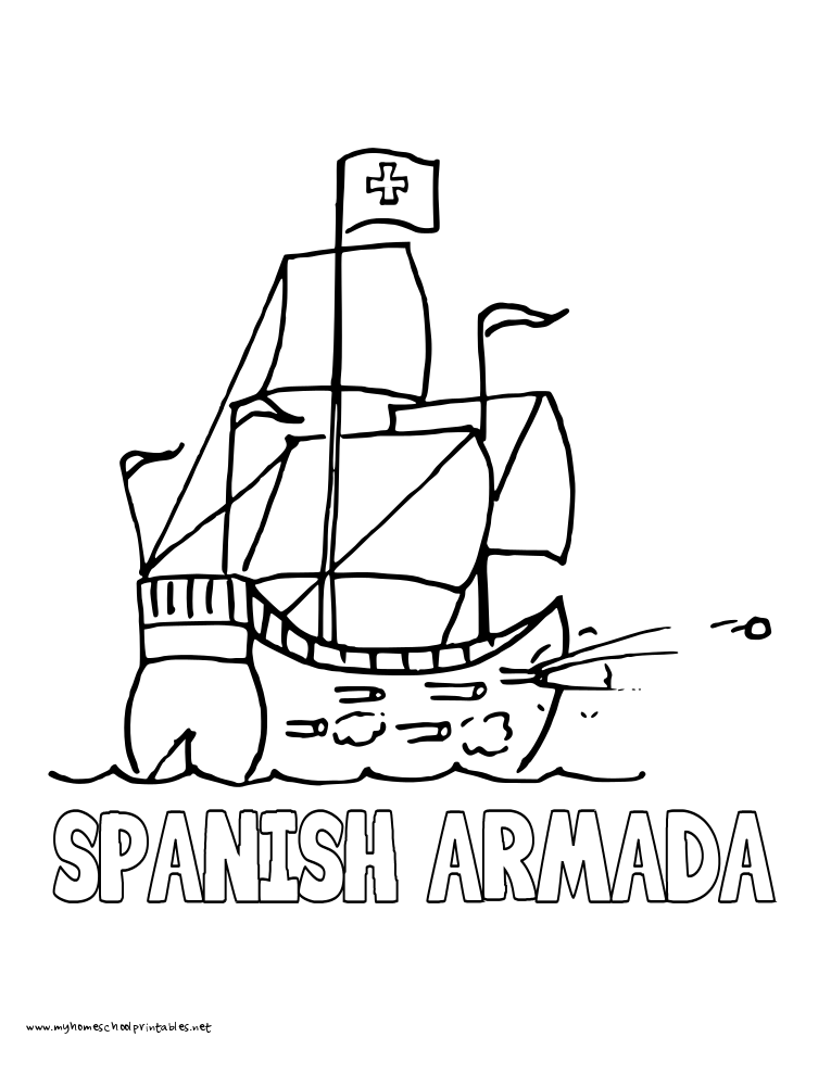 coloring page spanish galleon coloring page spanish