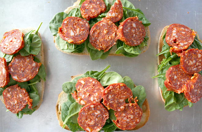 Simple Grilled Cheese Sandwich with Spinach and Spanish Chorizo Sausage