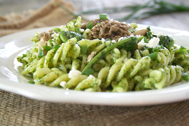 Foraging Outdoors with Children and a Recipe: Garlic Mustard Pesto Pasta Topped with Fiddleheads and Morel Mushrooms