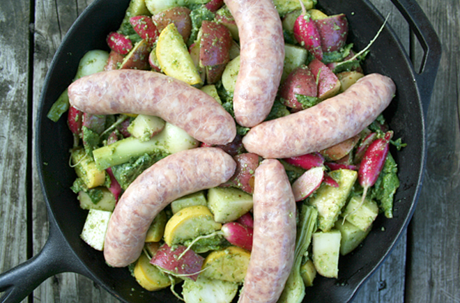 Castello Moments - Roasted Sausages and Summer Vegetables with Garden Fresh Pesto