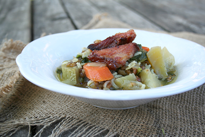Lentil Soup with Rice, Fall Vegetables, and Guanciale