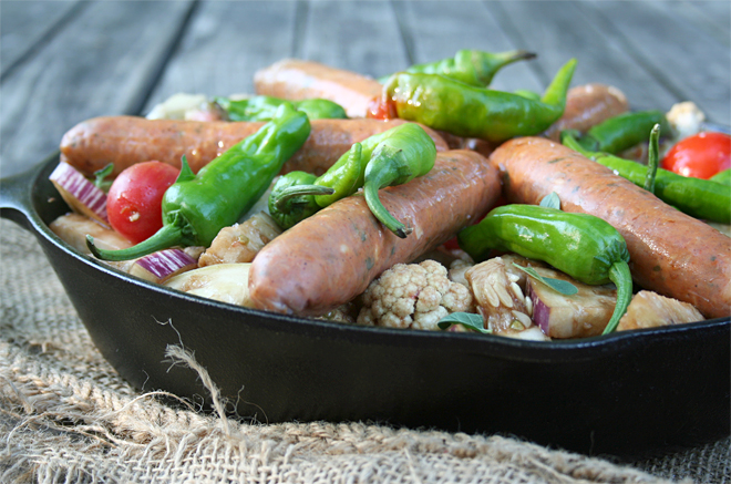 From Garden To Table: Roasted Balsamic Vegetables with Chicken Sausage | myhumblekitchen.com