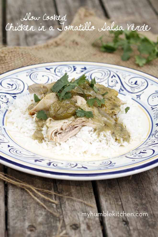 Slow Cooked Chicken in a Tomatillo Salsa Verde | myhumblekitchen.com