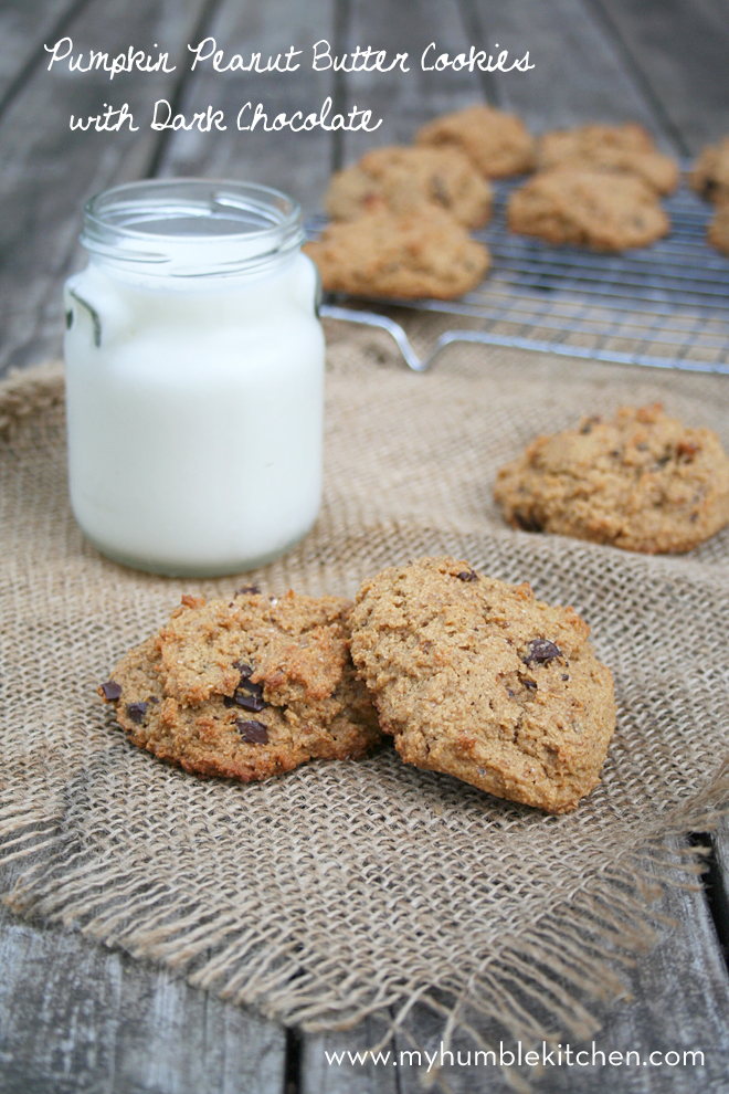 Whole Wheat Pumpkin Peanut Butter Cookies with Dark Chocolate   myhumblekitchen.com