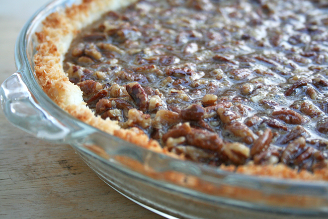 German Chocolate Pecan Pie in a Coconut Crust | myhumblekitchen.com