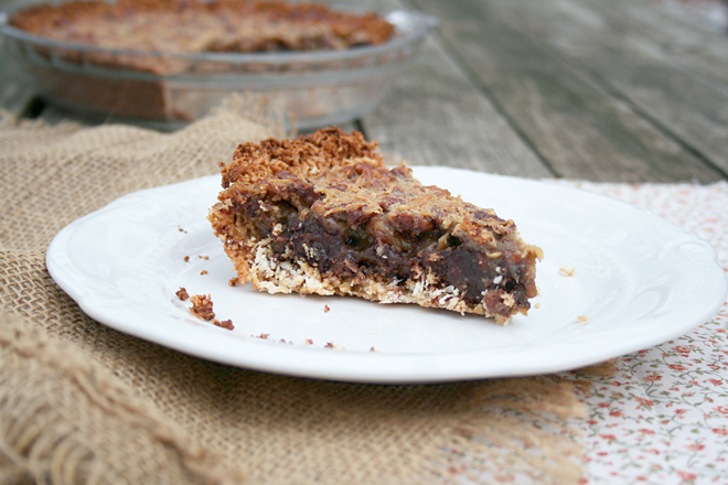German Chocolate Pecan Pie in a Coconut Crust – A Gluten Free Recipe