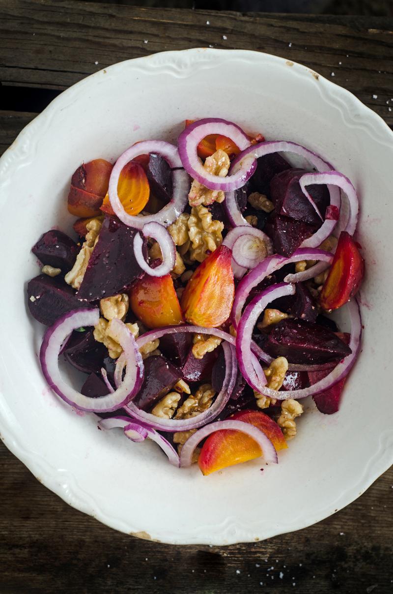 Roasted Beet and Walnut Salad with Spiced Kombucha Vinaigrette