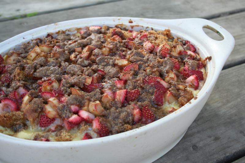 Baked, Strawberry & Rhubarb French Toast Casserole