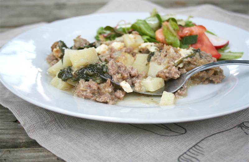 Creamed Spinach, Sausage, and Potato Casserole