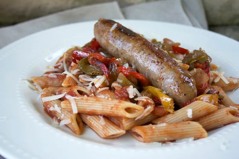 Sausages, Peppers, and Onions Over Einkorn Pasta