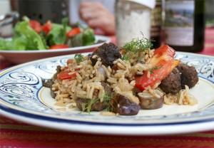 Eggplant Salad with Meatballs