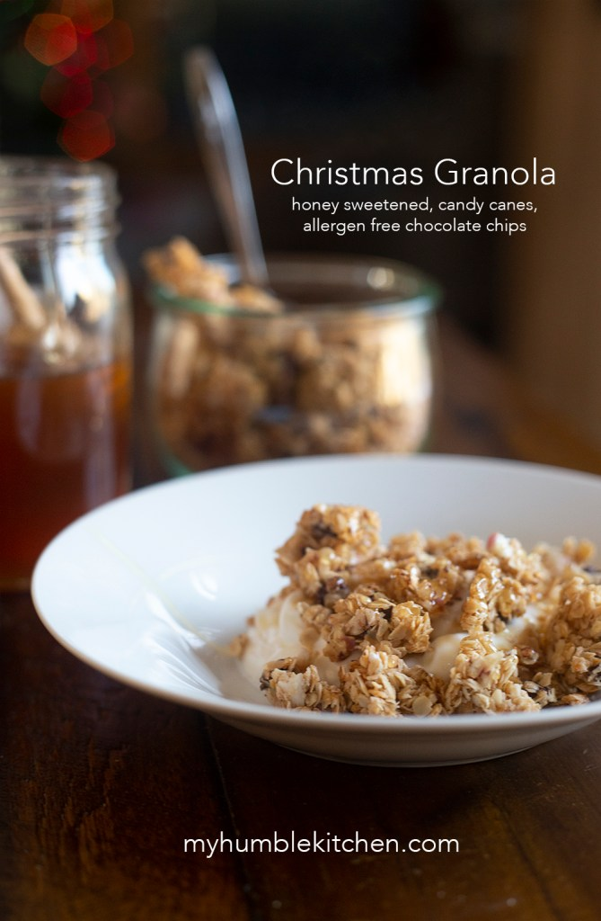 Honey Sweetened, Christmas Granola - Candy Canes and Chocolate Chips | myhumblekitchen.com