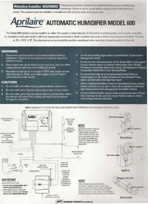 Aprilaire 700 Wiring Diagram Series