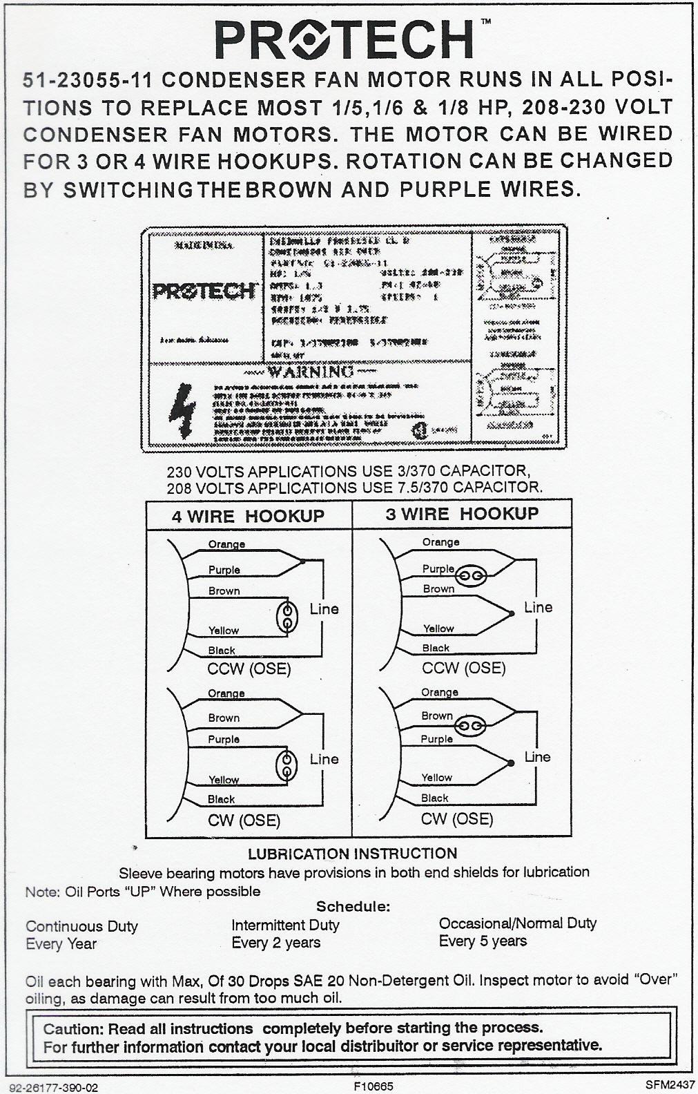 Rheem Ruud Condenser Fan Motor 51 23055 11 Wiring Diagram