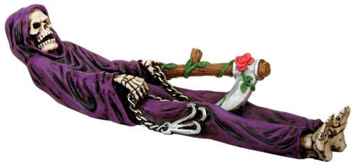 grim reaper incense holder with red rose