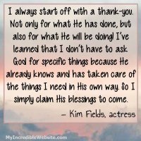 Kim Fields: On Morning Prayer