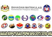 Semakan Keputusan PSPM Sesi 2017/2018 Online