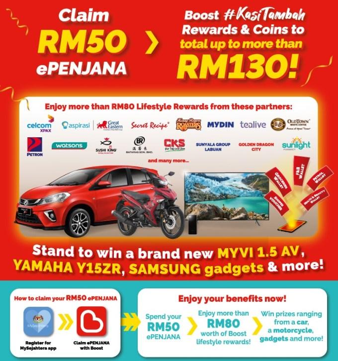 Cara Claim RM50 ePENJANA Dan Guna Kredit Melalui Boost, GrabPay & Touch n Go