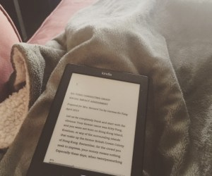 Reading a book on my Kindle on the weekend