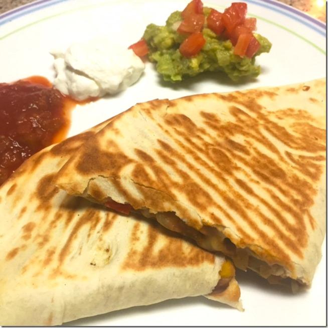 Homemade veggie quesadillas