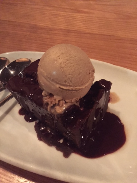 Chocolate cake with gelato at Bella Brava St. Petersburg, FL