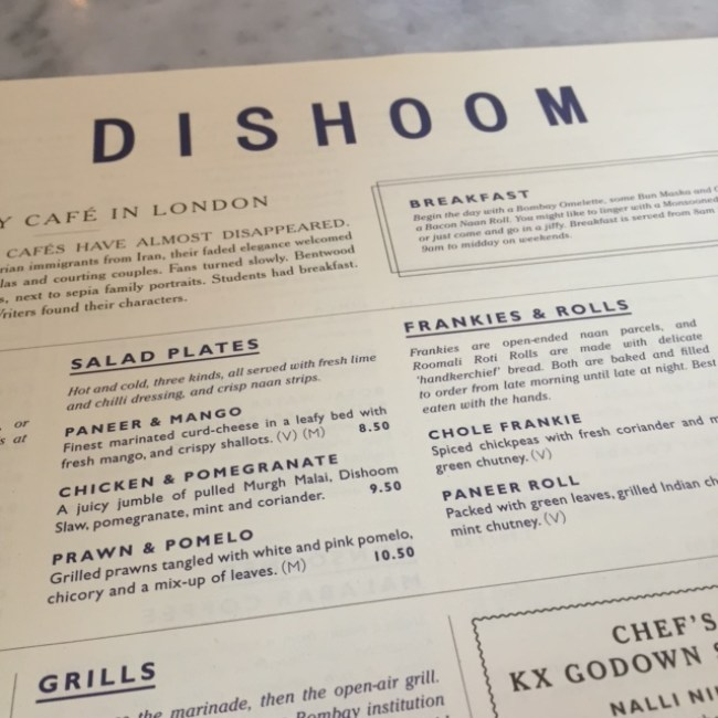 Snapshot of Dishoom Menu - London - King's Cross location