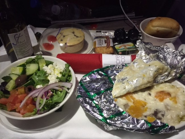 Virgin Atlanta vegetarian dinner