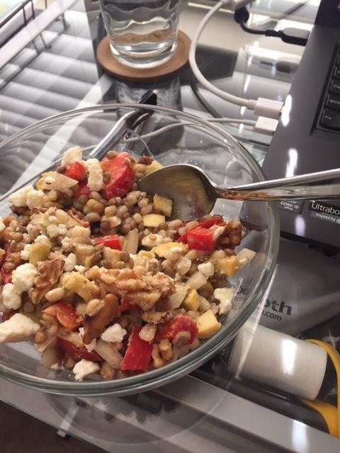 Lentil farro tahini bowl