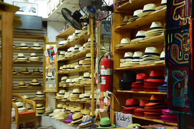 Panamanian hats in a small shop
