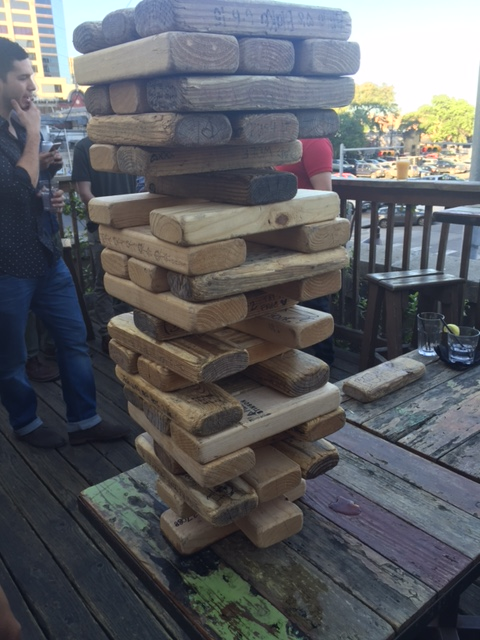 The Blind Pig in Austin, TX rooftop Jenga