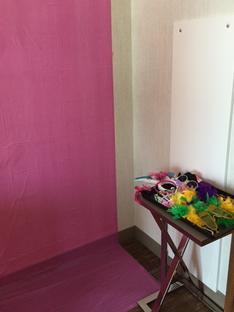 Bridal shower photo booth set up
