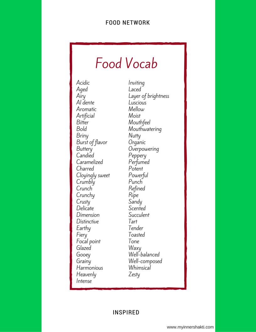 Food Network Inspired Vocab - My Inner Shakti