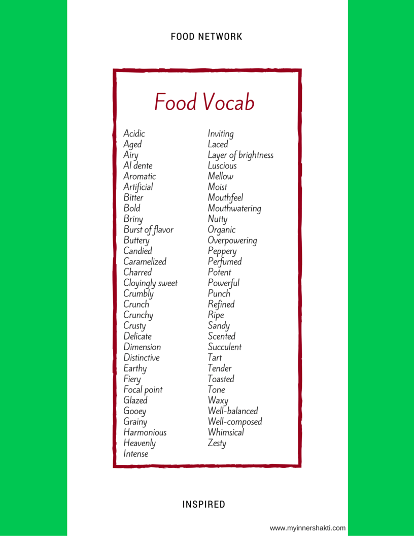 Food Network Inspired Food Vocab