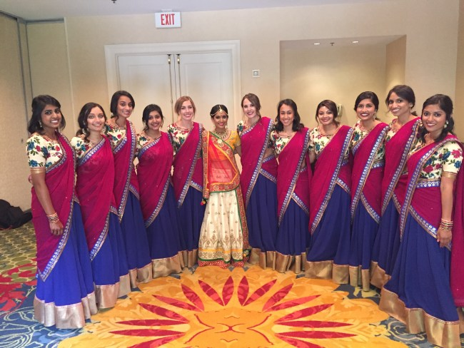 Indian bride and her bridesmaids before wedding ceremony