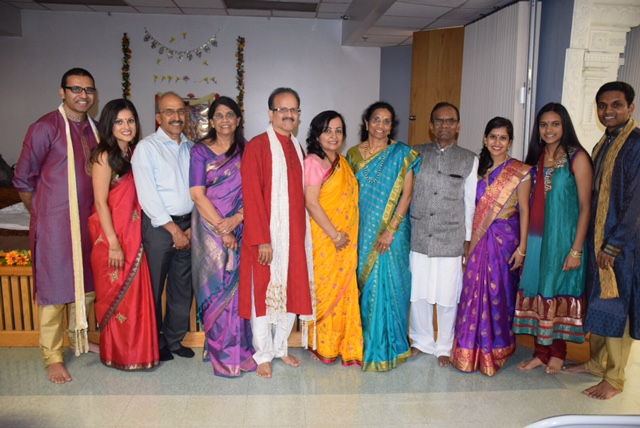 Indian family at newlywed pooja