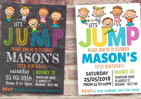 JUMP! Chalkboard Trampoline Party Invitation
