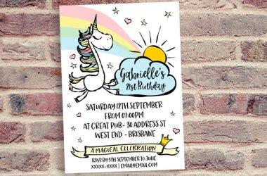 Adult Unicorn Birthday Party Invitation