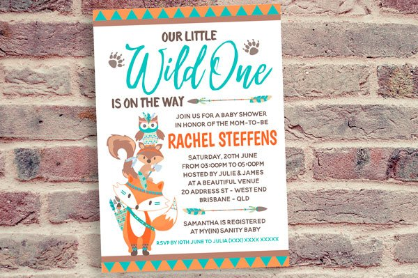 Cute Animals Totem Wild One Baby Shower Invitation