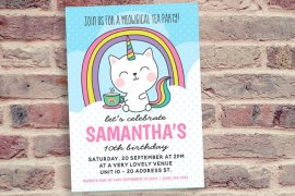 Cat Unicorn Tea Party Invitation