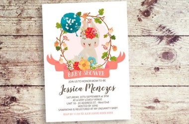 Bunny Baby Girl Shower Invitation