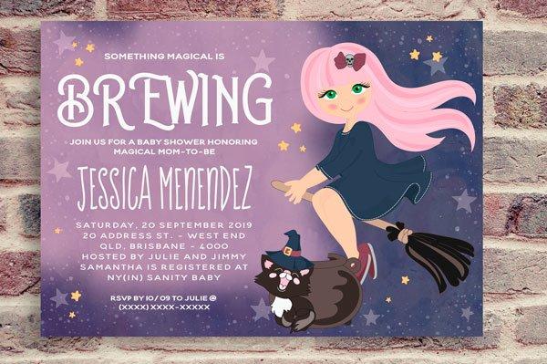 Baby Shower Witch Invitation