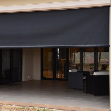 Shade blinds provide shade, privacy and block out 95% of the Sun, wind and rain.