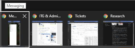 Chrome window names, Messaging, Tickets, Research
