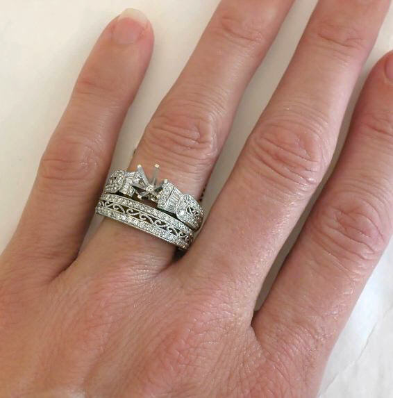 Antique Style Baguette And Round Diamond Semi Mount And