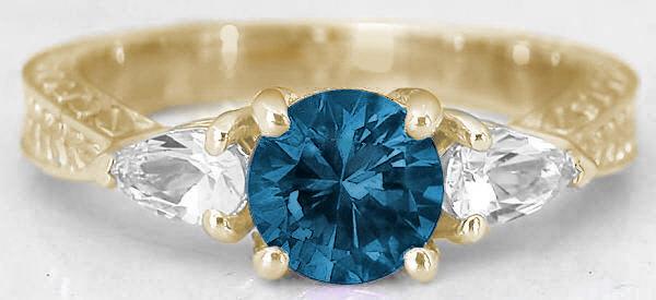 Three Stone London Blue Topaz Ring In 14k Yellow Gold GR