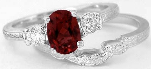 Vintage Garnet Engagement Ring and Matching Wedding Band in 14k white gold GR8044