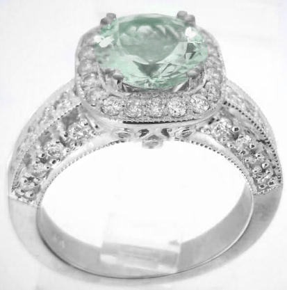 8mm Round Green Amethyst Diamond Halo Engagement Ring With