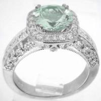 8mm Round Green Amethyst Diamond Halo Engagement Ring with ...